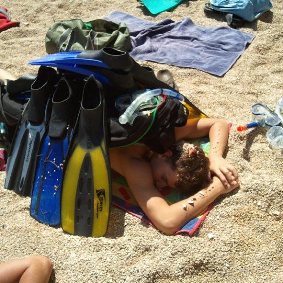 Plavanje človeka močno utrudi, sept. 2012, foto J. Cimperman