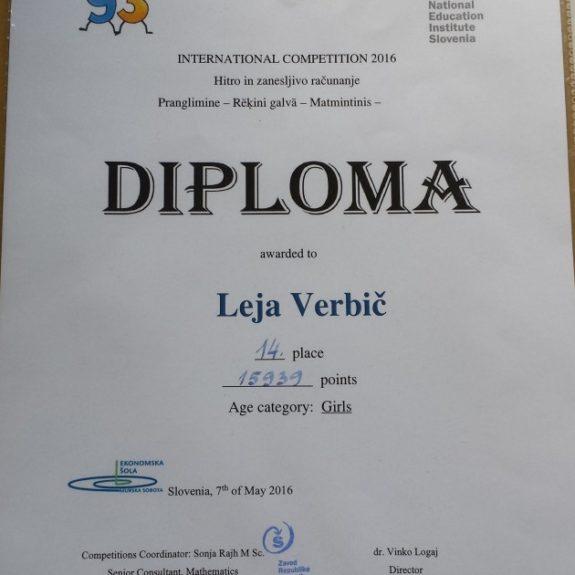 Tekmovanje LEFO, Lejina diploma